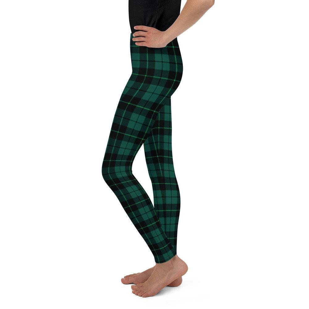 TARTAN PLAID LEGGINGS Kids Leggings Girls Youth Leggings Blue and Green Tartan Plaid Leggings for Girls Clothing Kids Yoga Pants Junior