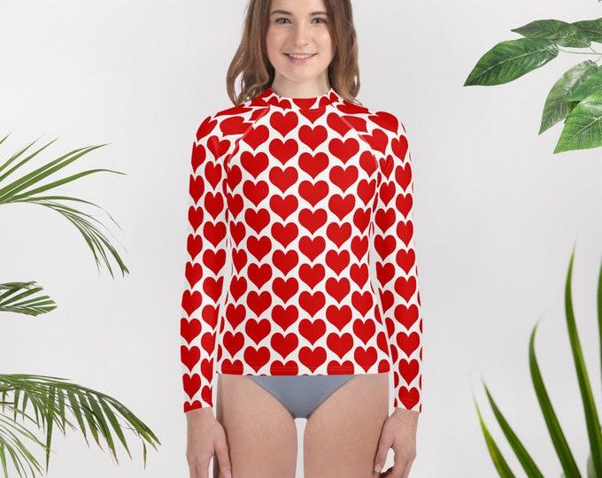 Valentines Day GIRLS SWIM TOP Long Sleeve Red and White Heart Print Rash Guard Kids Girls Pre-Teen Junior Girls Clothing Youth Rash Guard