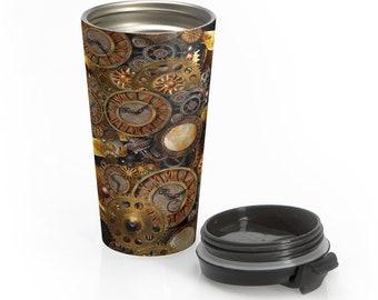Steampunk Travel Mug Stainless Steel Travel Mug STEAMPUNK MUG for Hot or Cold Beverages Insulated TRAVEL Mug Gift for Her Gift for Him