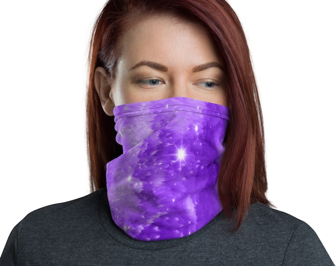 Purple GALAXY MASK SCARF Trendy Celestial Face Cover Face Scarf or Hair Accessory Neck Gaiter Protective Face Covering Trendy Face Mask