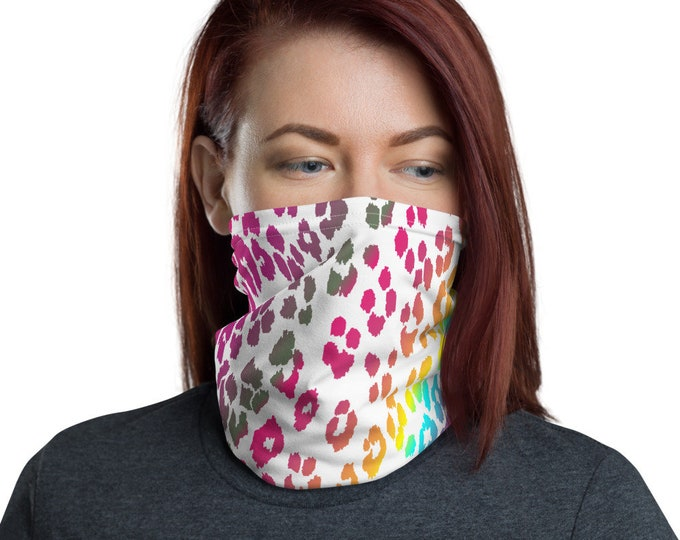 FACE Mask Face SCARF Cheetah Print Neck Gaiter for Adults Protective Face Mask Face Covering Head Scarf Animal Print