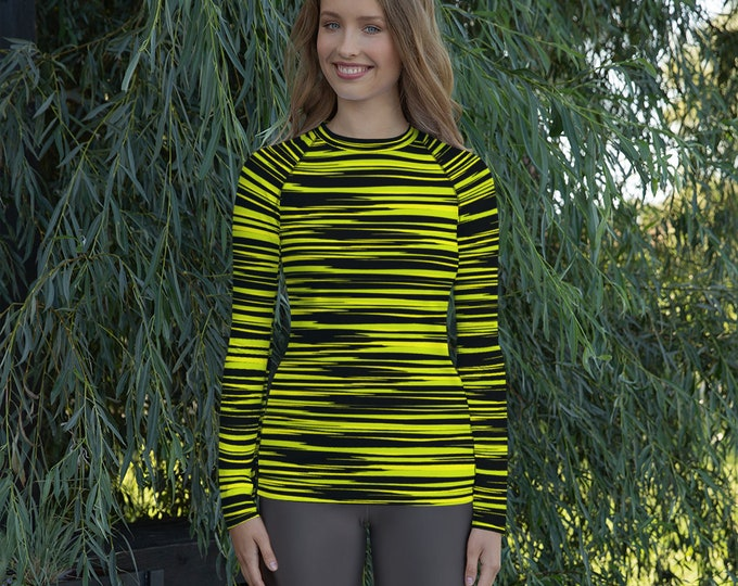RASH GUARD WOMENS Yellow and Black Camouflage Striped Women's Rash Guard Long Sleeve Clothing Athletic Top for Women Rave Clothing Surfing