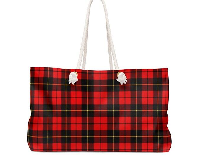 Weekender Bag Red TARTAN PLAID TOTE Weekender Bag Overnight Travel Tote Beach Bag Work Out Tote