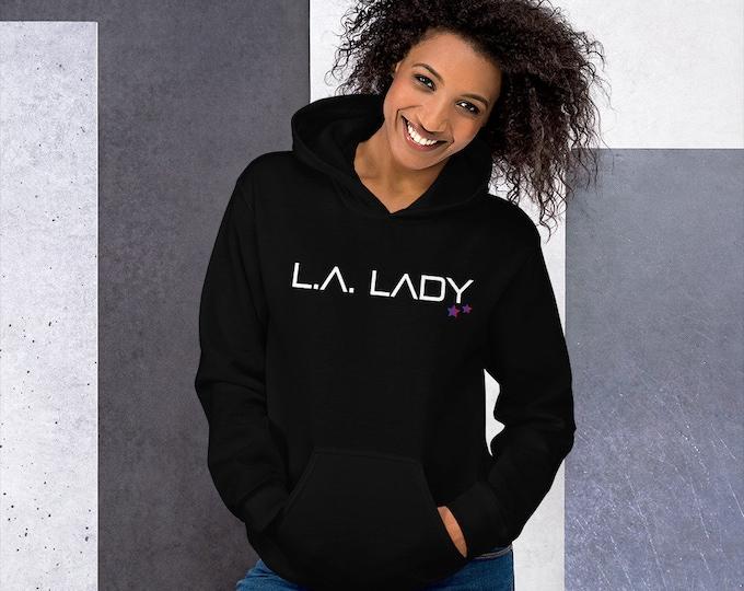 L.A. LADY HOODIE Womens Hooded Sweatshirt Unisex Clothing Statement Hoodie Graphic Hoodie Elton John Fan Los Angeles Hoodie Gift for Her