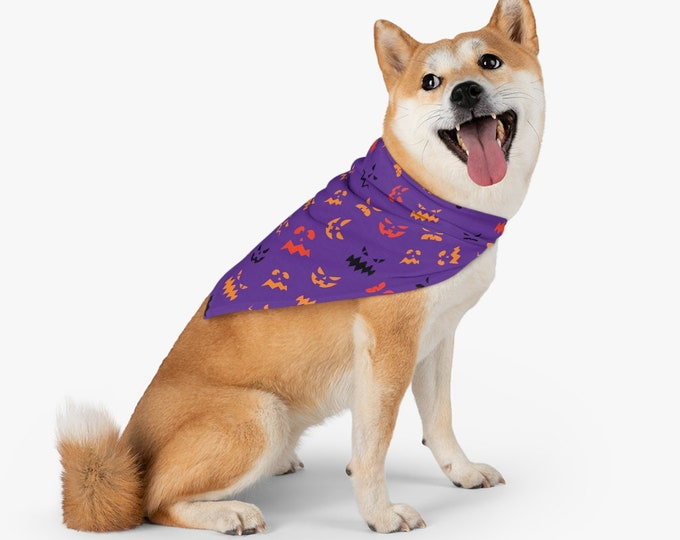 HALLOWEEN BANDANA DOGS Halloween Clothing Pet Bandana Dogs Jack O' Lantern Faces Halloween Print Dog Accessories Halloween Clothing for Dogs