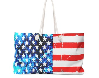 Red White and Blue American Flag TOTE USA Stars and Stripes Weekender Bag Travel Tote Beach Bag Patriotic Bag Gift for Her Overnight Bag