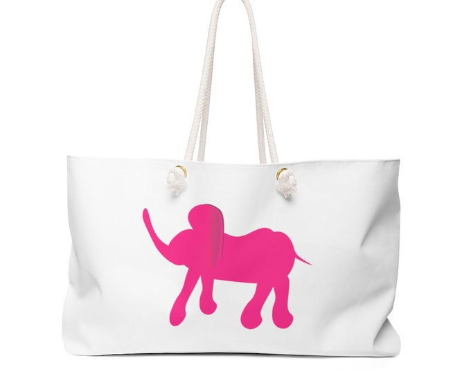 ELEPHANT TOTE BAG Pink Elephant Weekender Bag White and Pink Beach Bag Travel Tote Overnight Bag Day Bag Purse Gift for Her Designer Tote