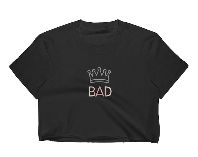 """CROP T-SHIRT Statement Clothing """"BAD"""" Womens Shirt Los Angeles Apparel 2332 Fine Jersey Short Sleeve Cropped T-Shirt w/ Tear Away Label"""