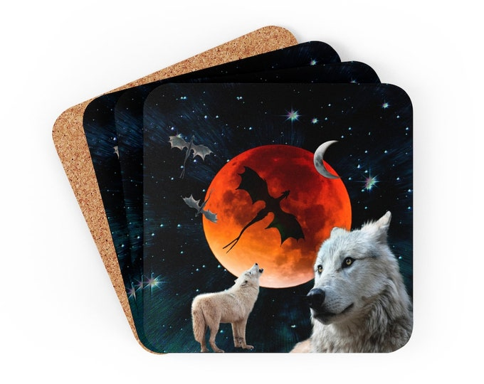 HOWLING WHITE WOLF Coaster Set Full Moon with Wolf Dragon Moon Corkwood Coaster Set of 4 Fantasy Home Decor Wolf Decorations Wolf Coasters