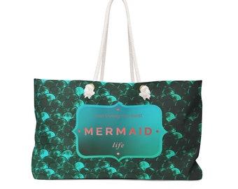 MERMAID LIFE TOTE Beach Bag Mermaid Beach Bag Living My Best Mermaid Life Weekender Bag Tote Mermaid Scale Tote Bag Beach Bag Mermaid Tote