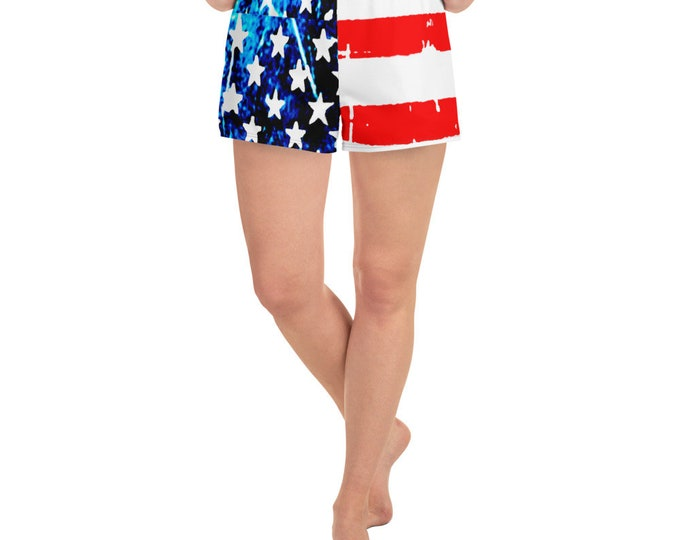 American Flag USA SHORTS Red White and Blue Stars and Stripes Women's Athletic Short Shorts Patriotic Clothing Casual Shorts Gym Shorts