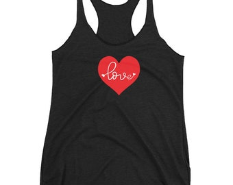 VALENTINE'S DAY Tank TOP Love Heart Tank Top Women's Racerback Tank Top Work out Tank Top Gift for Her Valentine's Day Top Gift for Her Yoga