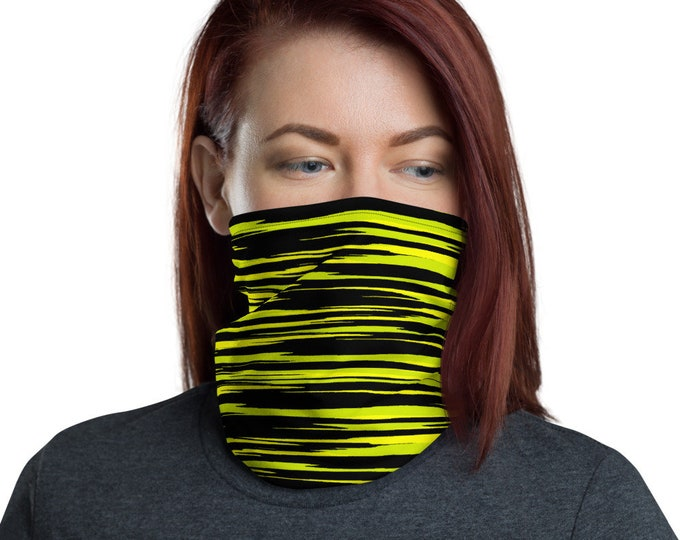 FACE MASK Scarf Yellow and Black Face Scarf for Men or Women Unisex Face Covering Protective Face Mask Neck Gaiter Made in the USA One Size