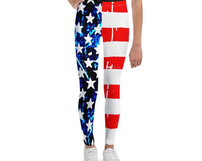Girls AMERICAN FLAG Leggings USA Leggings Patriotic Leggings Youth Leggings Pre Teen Leggings Red White and Blue Stars and Stripes Pants