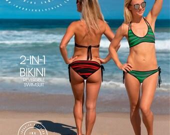 Red and Green CAMO TWO PIECE Bikini Reversible Camouflage Bikini Womens Convertible Bikini Swimsuit Two Piece Swimwear Womens Rave Clothing