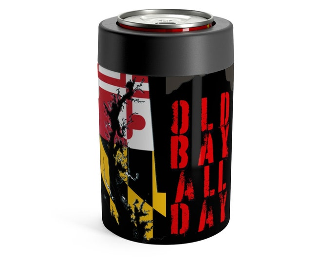 BEER CAN HOLDER Old Bay All Day Maryland State Flag Cozie Hide Your Beer Can Barware Beachwear Tailgating Home and Living Maryland Gift
