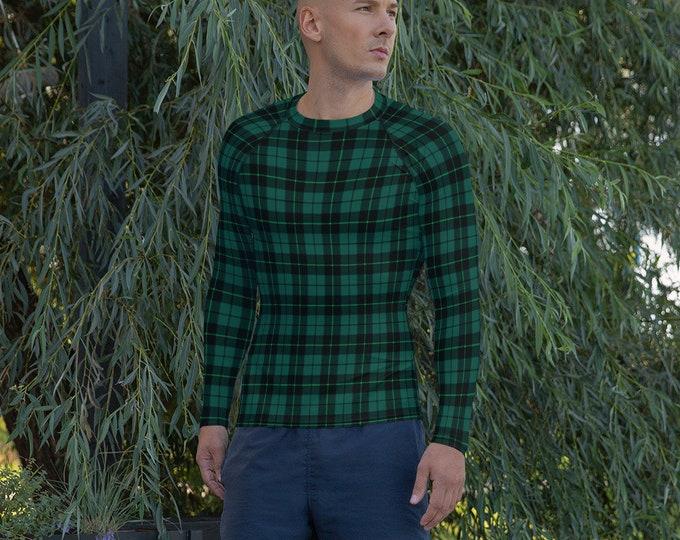 Men's Rash Guard GREEN TARTAN PLAID Rash Guard Swim Shirt Swimwear for Men Long Sleeve Shirt Athletic Clothing for Men Surf Shirt