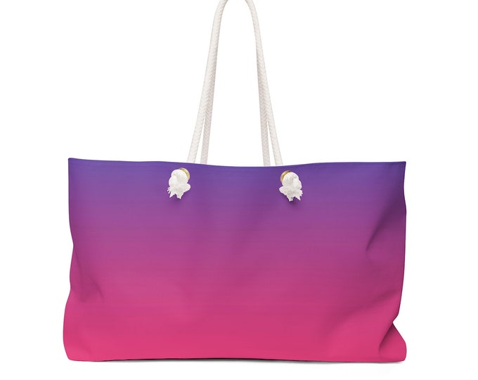 OMBRE TOTE BAG Weekender Bag Oversized Tote Bag Pink and Purple Ombre Bag Tote Travel Bag Yoga Bag Carry All Bag Travel Tote Gift for Her