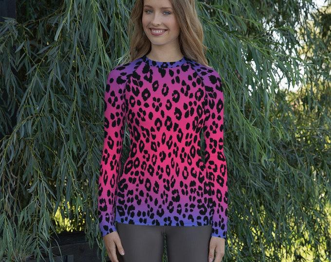 RASH GUARD WOMENS Cheetah Print Long Sleeve Rash Guard Swim Shirt Athletic Clothing Women's Rash Guard Surf Shirt Rave Clothing Festival Top