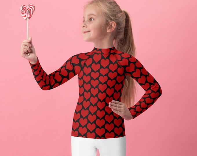 Valentine's Day Top for GIRLS RASH GUARD Heart Top Rash Guard Long Sleeve Red and Black Heart Top Children's Swim Top for Kids Rash Guard