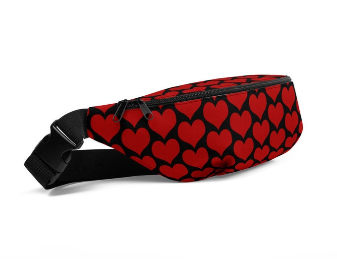 Valentines Day HEART FANNY PACK Red and Black Heart Print Fanny Pack Bum Bag Accessories Kids Adults Hip Bag Valentine's Gift for Her