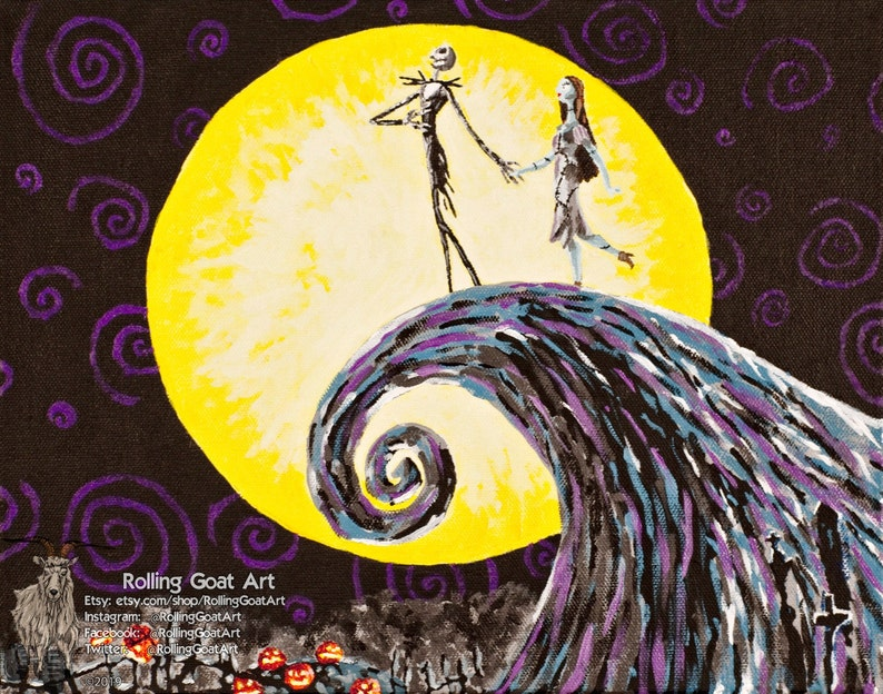 art print from an original acrylic painting The Nightmare Before Christmas