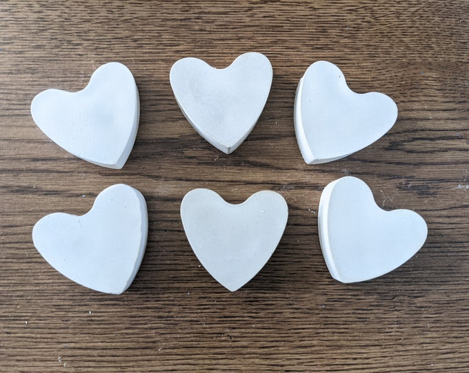 """Blank Rocks for Painting Hearts Set of 6 Blank Large 2"""" Handmade Stones Love Gift"""