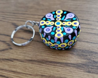 Small Mandala Round Keychain or Lanyard Pink Blue Peach Fun Colors and Style