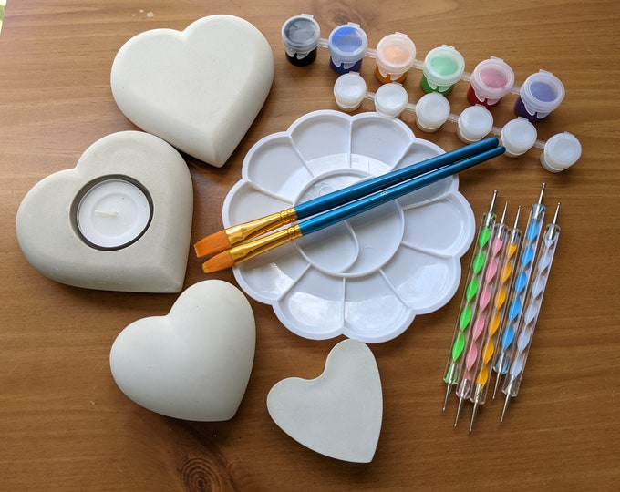 Rock Painting Letterbox Kit Heart Shaped Blank Handmade Stones in a Variety of Sizes with Tools and Paint Art Gift Idea