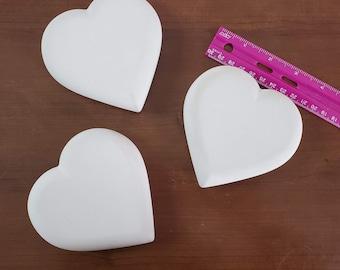 "Blank Rocks for Painting Heart Set of 3 Handmade Stones Large 4"" Smooth Dot PaintingLove Art Decor Shape"