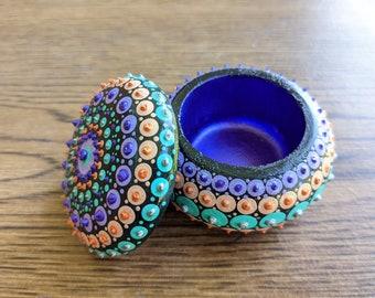 Mandala Trinket Box Metallic Hand-Painted Boho Decor Holiday Gift Birthday Office Dorm