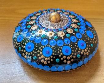"""Mandala Stone Boho Decor Extra Large 4"""" Handmade Blue Gold Glitter Gift"""