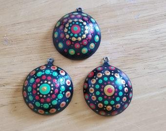Set of 3 Handmade Pendants Ornaments Holiday Jewelry Gift Dot Painting Miniature