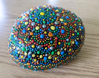 """Giant Dot Painted Rock Garden Porch Decor 4"""" x 7"""" Epoxy Resin Covered Indoor Outdoor Colors Dots Fun Rainbow"""