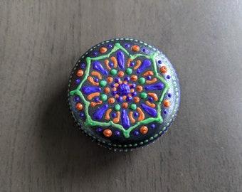 "Mandala Stone Charcoal 2"" Purple Orange Green Halloween Office Decor Gift Idea"