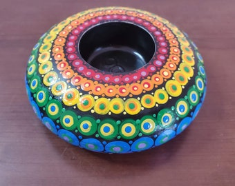 Rainbow Candle Holder Tealight Round Dot Painted