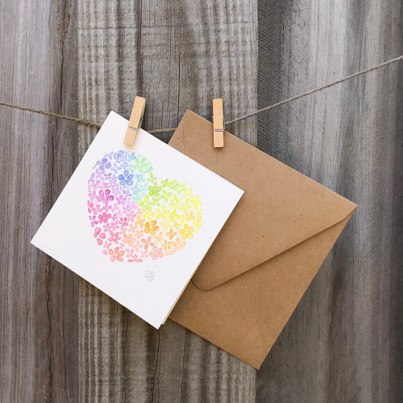ORIGINAL Watercolor ~ Spread the Love Card with envelope ~ Not Print ~ 4.5 x 4.5\u201d Card