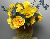 Yellow Ombre Blenko Vase w Floral