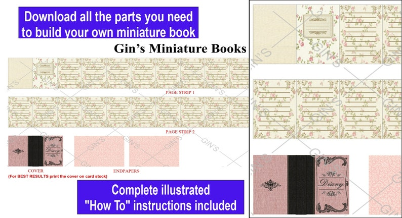DIY Miniature Book Parts  Antique Diary pink image 0