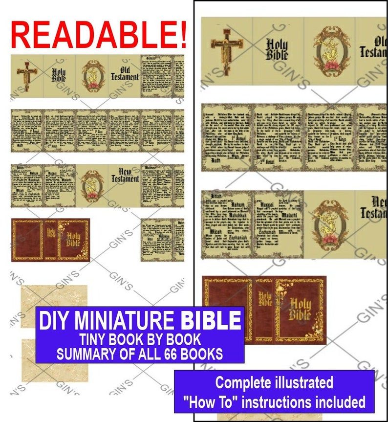 DIY Miniature BIBLE Parts  Old Style image 0