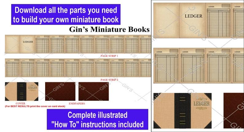 DIY Miniature Book Parts  Antique Ledger image 0