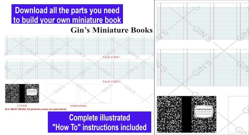 DIY Miniature Book Parts  Composition Book image 0