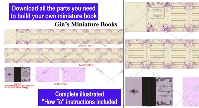 DIY Miniature Book Parts  Antique Diary purple image 0