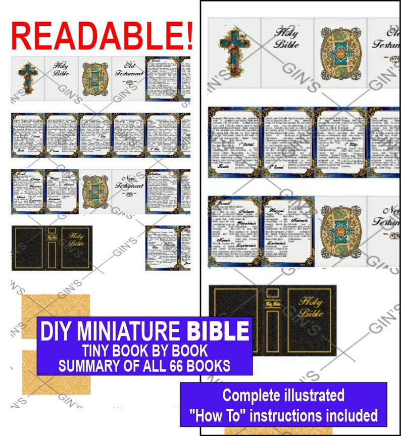 DIY Miniature BIBLE Parts  Blue Framed image 0