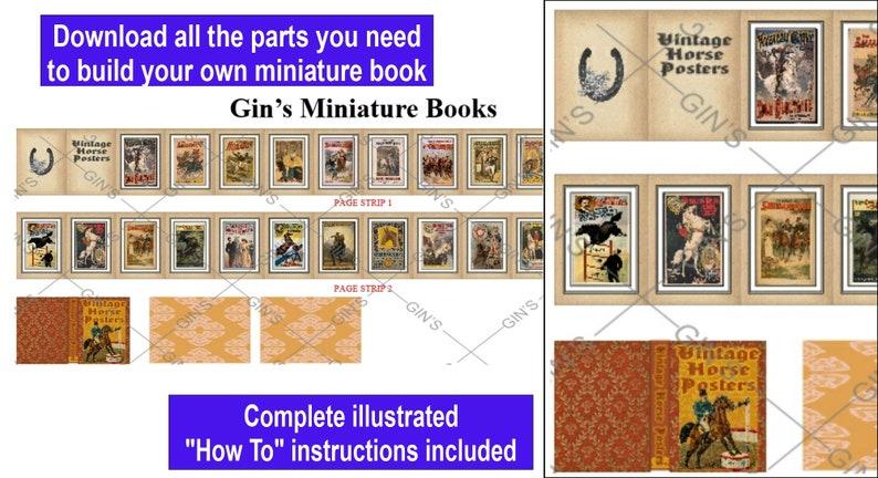 DIY Miniature Book Parts  Vintage Horse Posters image 0