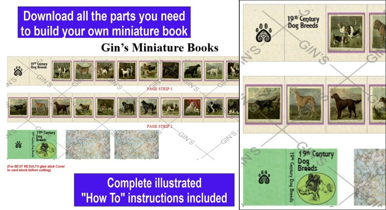 DIY Miniature Book Parts  19th Century Dogs image 0