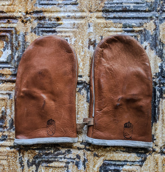 Leather Mittens, Vintage Leather Work Gloves