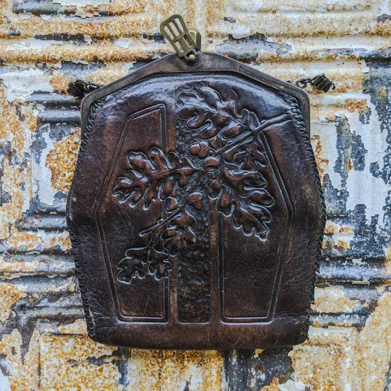 Arts & Crafts Tooled Leather Purse, Vintage Hand T