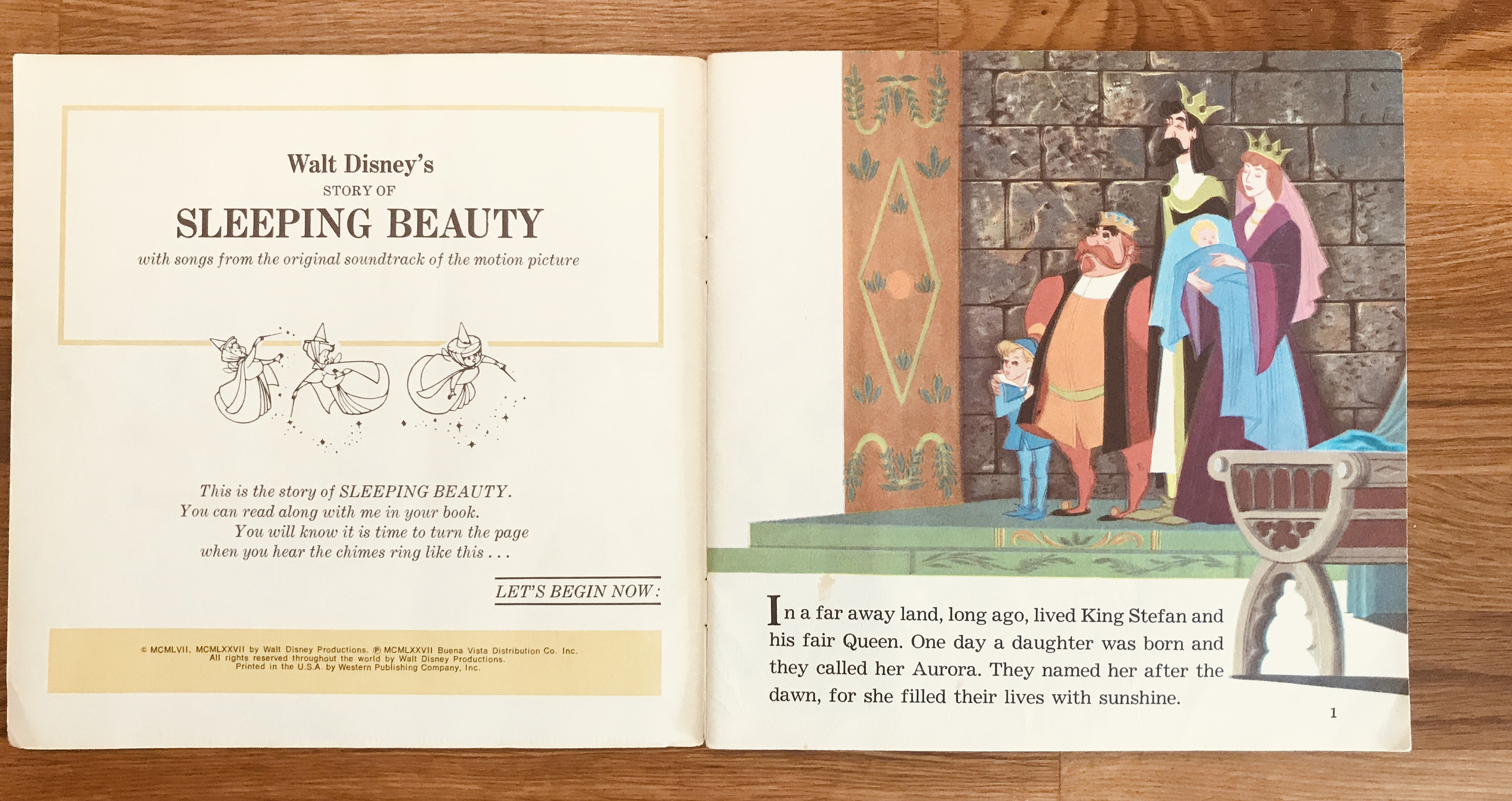 1977 Walt Disney's Sleeping Beauty Book and record