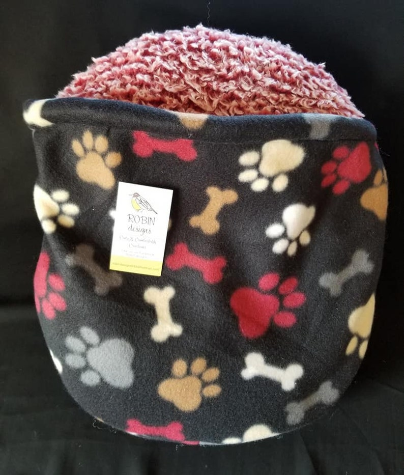 Fleece Bed Dog Bed Cozy Cat Bed Cat Bed Burrow Bed- Hooded Pet-Nest- size Small- Black Paw /& Bone Print Ferret Bed Cozy Dog Bed